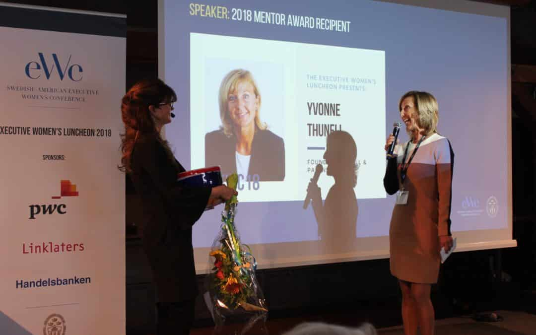 YVONNE THUNELL RECEIVES THE SWEDISH-AMERICAN CHAMBER OF COMMERCE, NEW YORK'S MENTOR AWARD