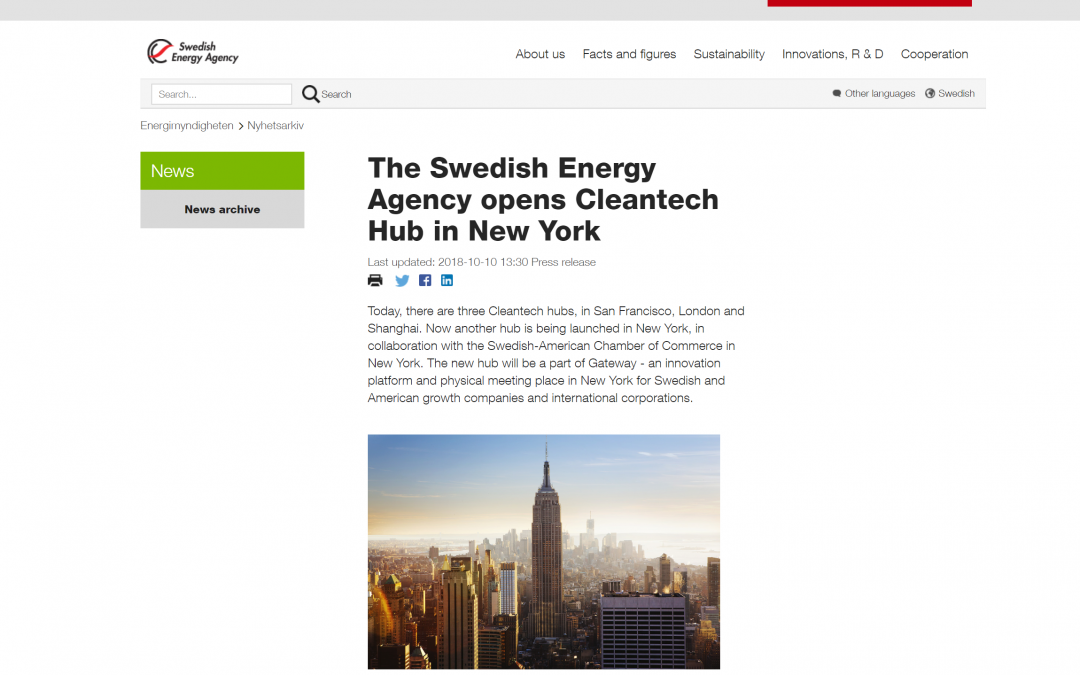 The Swedish Energy Agency opens Cleantech Hub at Gateway in New York